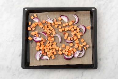 Roast Sweet Potatoes and Onion