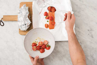 Cook the salmon parcels