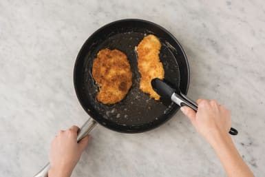 Cook the crumbed pork