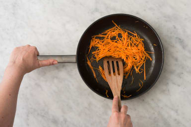 Cook Carrots and Brown Meatballs