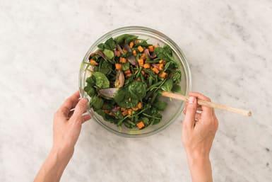Make the veg-feta toss