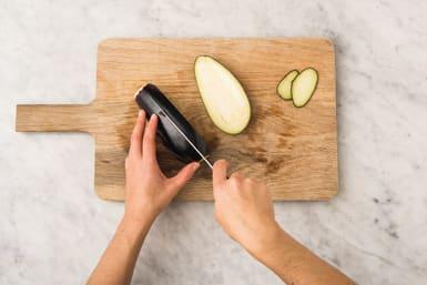 Cut the eggplant