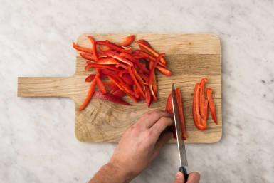 Paprika snijden