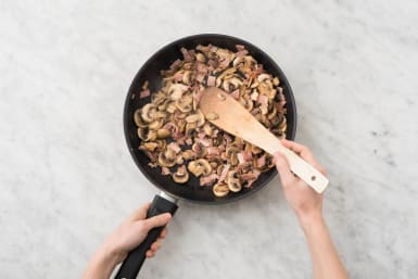 Stek bacon och svamp
