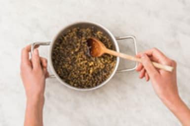 Linzen en bulgur koken