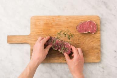 Steak würzen