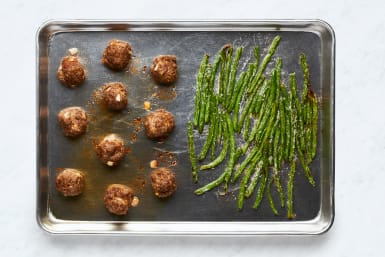 Bake Meatballs and Green Beans