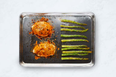 Roast Asparagus and Finish Chicken