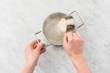 Cook the garlic rice