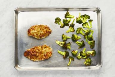Roast Broccoli and Finish Chicken