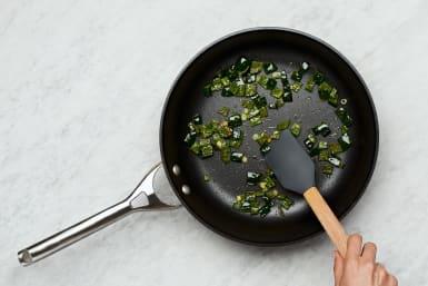 Cook Poblano & Scallions