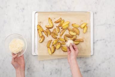 Bake the cheesy wedges