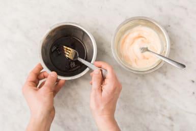 Make glaze and sriracha mayo