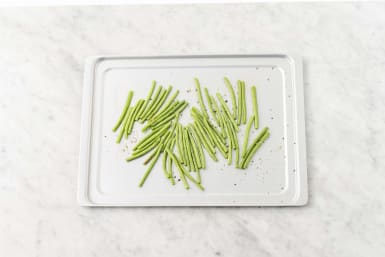 Roast green beans and make maple butter