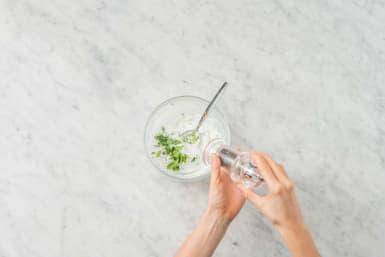 Make garlic yogurt sauce