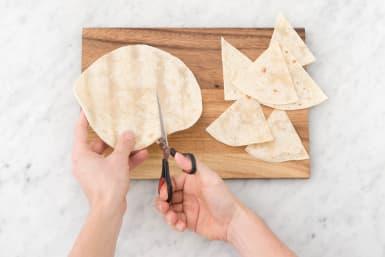 Cut tortilla chips.