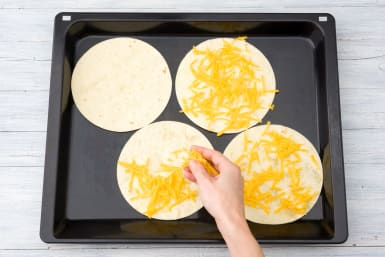 Make the cheesy tortillas