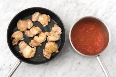 Cook chicken.