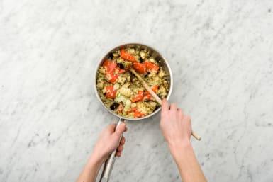 Add veggies to bulgur wheat.