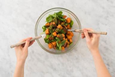 Add the pesto to the veggies