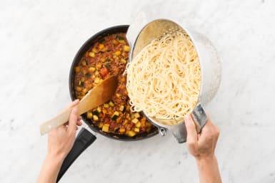 Add pasta to ragu.