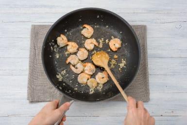 Cook Aromatics and Shrimp