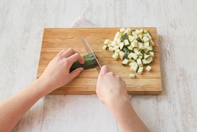 Cut the zucchini into 1/2-inch cubes