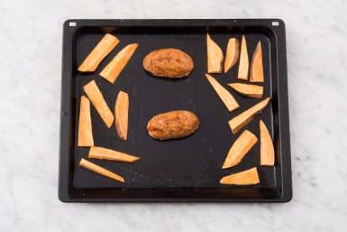 Bake Meatloaves and Sweet Potatoes