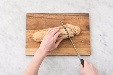 Preheat Oven and Slice Bread