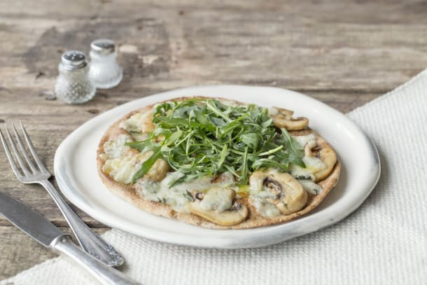 Field Mushroom and Thyme Pizza with Gorgonzola