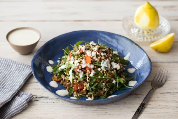 Turkish Barley & Lentil Salad with Tahini