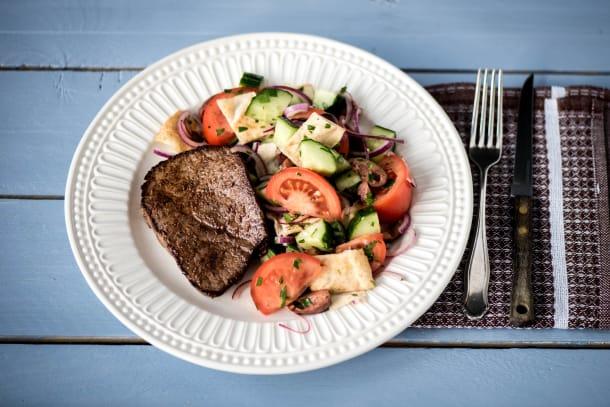 Sumac Lamb Steaks with Fattoush Salad