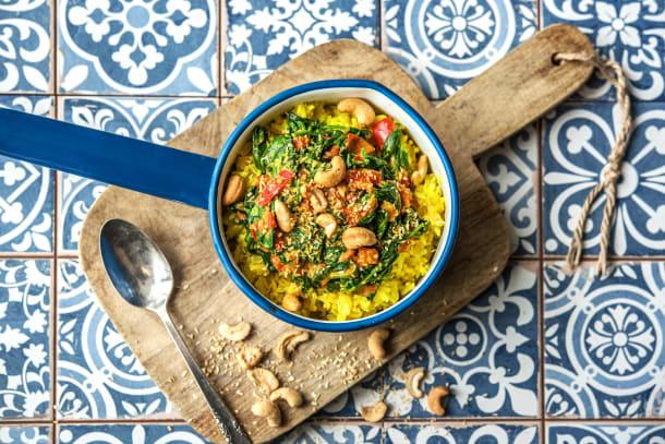 Spinazie-curry met gele rijst
