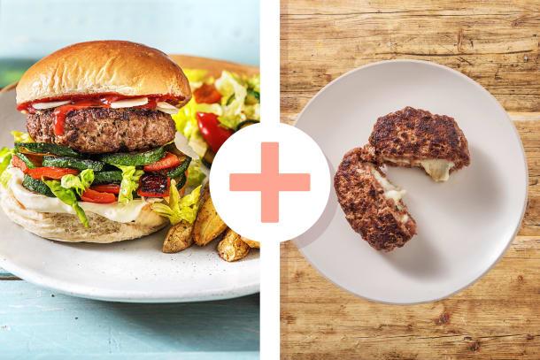 Mediterraner Burger mit gefülltem Rindfleischpatty