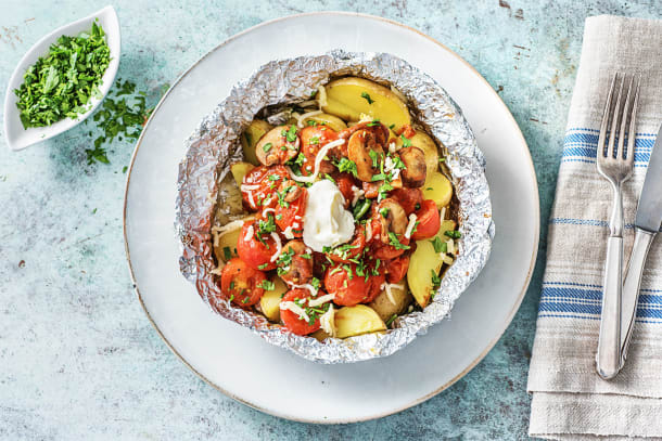 Pommes de terre rôties et sauce tomate