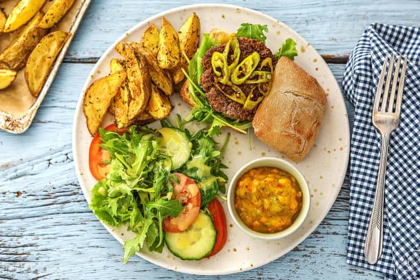 Burger au piment vert piquant et au piccalilli