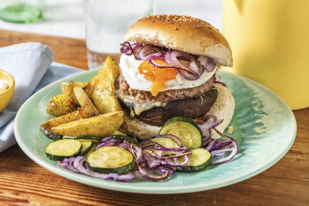Broodje hamburger met portobello