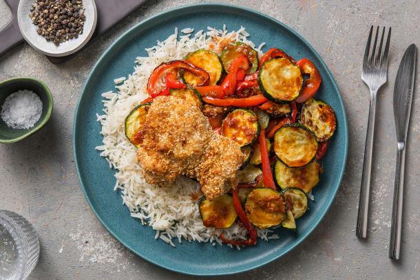 Poulet en croûte de sésame et légumes rôtis