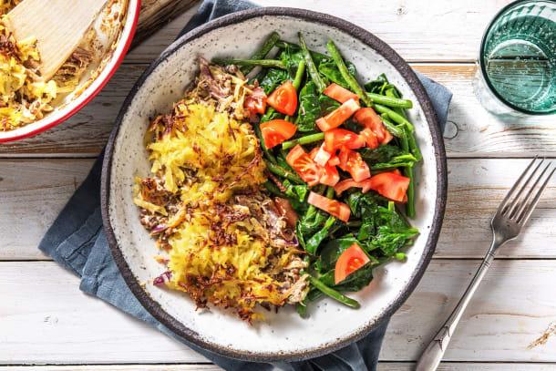 Gesunde Gerichte - Linsenauflauf mit Kartoffelkruste