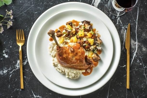 Purée de topinambours, cuisse de canard et sauce à l'orange