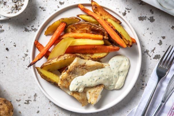 Filet d'églefin et sauce ciboulette