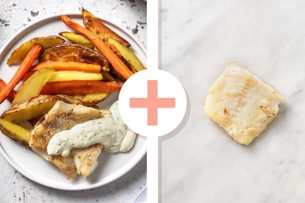 Filet d'églefin en double portion et sauce ciboulette