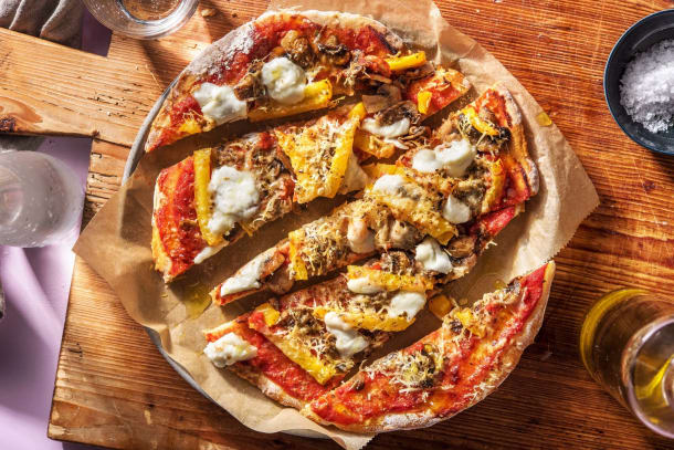 Recettes rapides - Pizza sur pain plat à l'italienne avec de la mozzarella de bufflonne