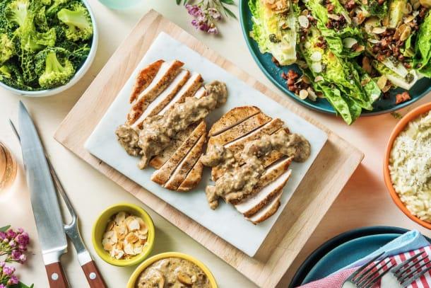 Filet de porc, sauce crémeuse aux champignons et risotto