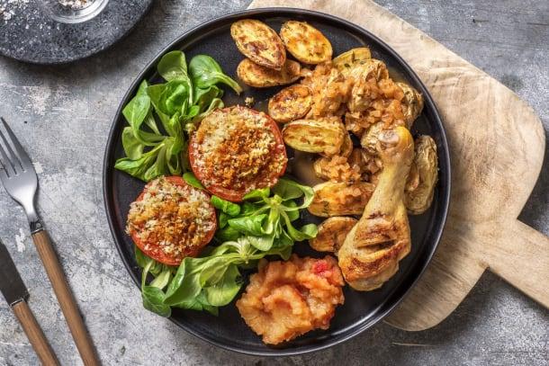 Pilons de poulet, compote de pomme maison et pommes de terre rissolées