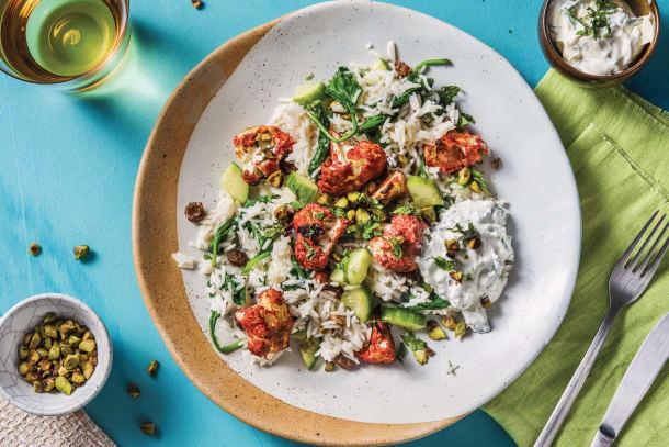 Vegetarian Recipes - Tandoori Cauliflower & Spinach Rice Pilaf