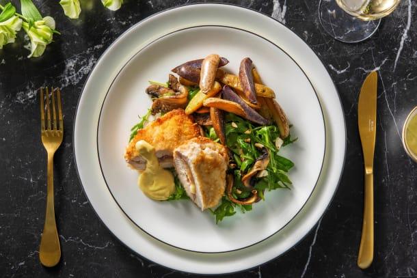 Cordon bleu de poulet maison et pommes de terre arc-en-ciel