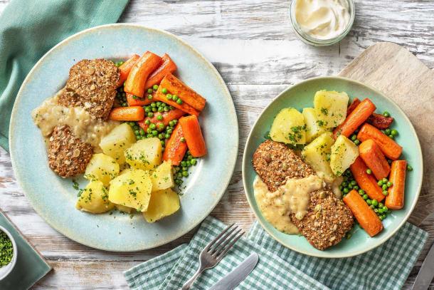 Recettes rapides - Poisson pané aux céréales, petits pois et carottes