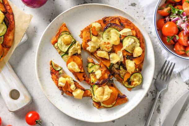 Recettes rapides - Pizza sur naan au chèvre et aux légumes