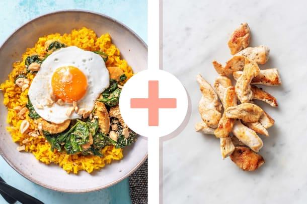 Gele rijst met kip als extra en spinazie-kokoscurry